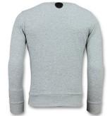 Local Fanatic Greek Border Sweater - Grauer Pullover - 6350G - Grau