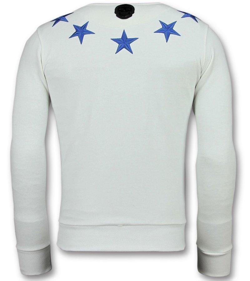Local Fanatic Five Stars Sweater - Sweatshirt Für Herren - 6354W - Weiß