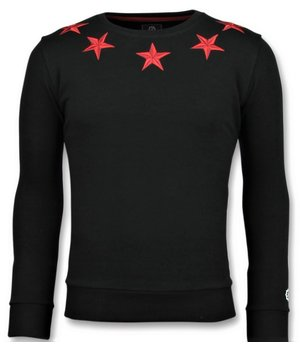 Local Fanatic Five Stars Sweater - Herren Sweatshirt Für - 6354Z - Schwarz