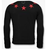 Local Fanatic Five Stars Sweater - Herren Sweatshirt Für - 6354Z - Schwarz