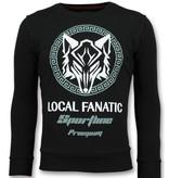 Local Fanatic Sportline Wolf Sweater - Coole Sweater Men - 6357Z -Schwarz
