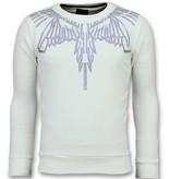 Local Fanatic Eagle Glitter Rhinestones - Sweatshirt Pullover Herren - 6340W - Weiß