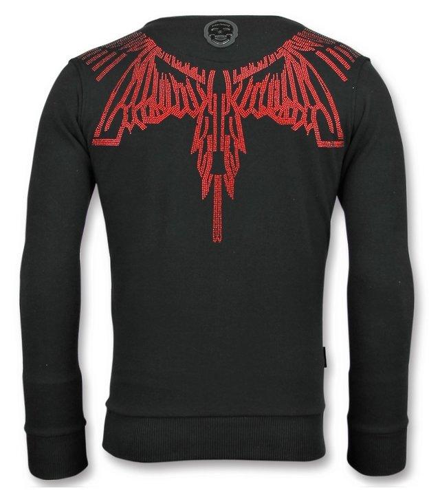 Local Fanatic Eagle Glitter Rhinestones - Herren Sweatshirt Pullover - 6340Z - Schwarz