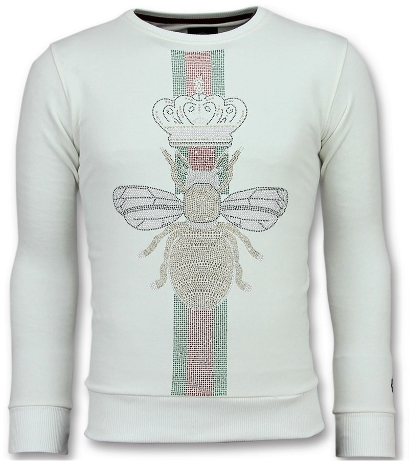 Local Fanatic King Fly Glitter Rhinestones - Exklusiv Sweater Herren - 6342W - Weiß