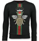 Local Fanatic King Fly Glitter Rhinestones - Herren  Exklusiv Sweater - 6342Z - Schwarz