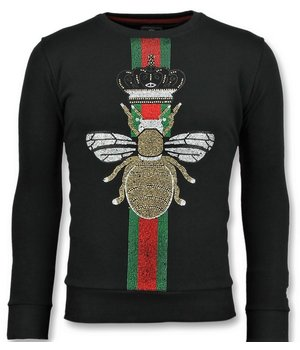 Local Fanatic King Fly Glitter Rhinestones - Herren  Exklusiv Sweater - 6342Z - Schwarz