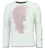 Local Fanatic Skull Glitter Rhinestones - Schöne Herren Pullover - 6343W - Weiß