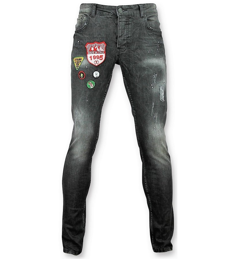 Addict Jeans mit Patches Men - Jeans malen Spritzer Herren - 57 - Grau