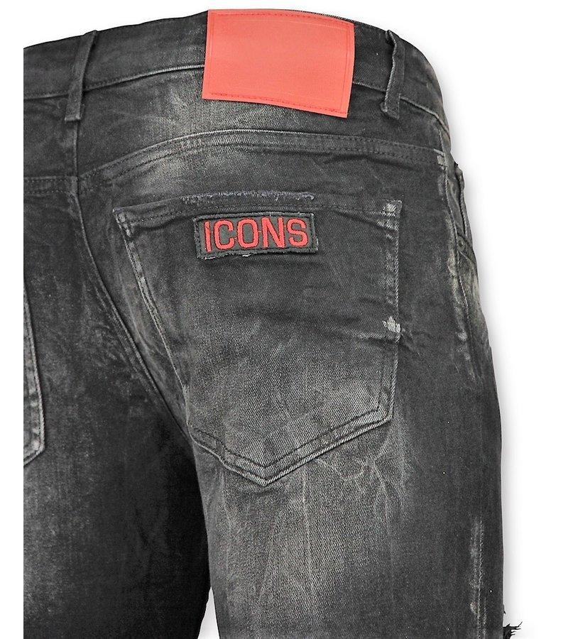 Addict Schwarze Jeans Männer - Luxus Jeans Herren Zerrissene - 45 - Grau