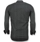 Gentile Bellini Slim Fit Stretch Shirt - Herren Bluse Leaf Motiv - 3016 - Blau