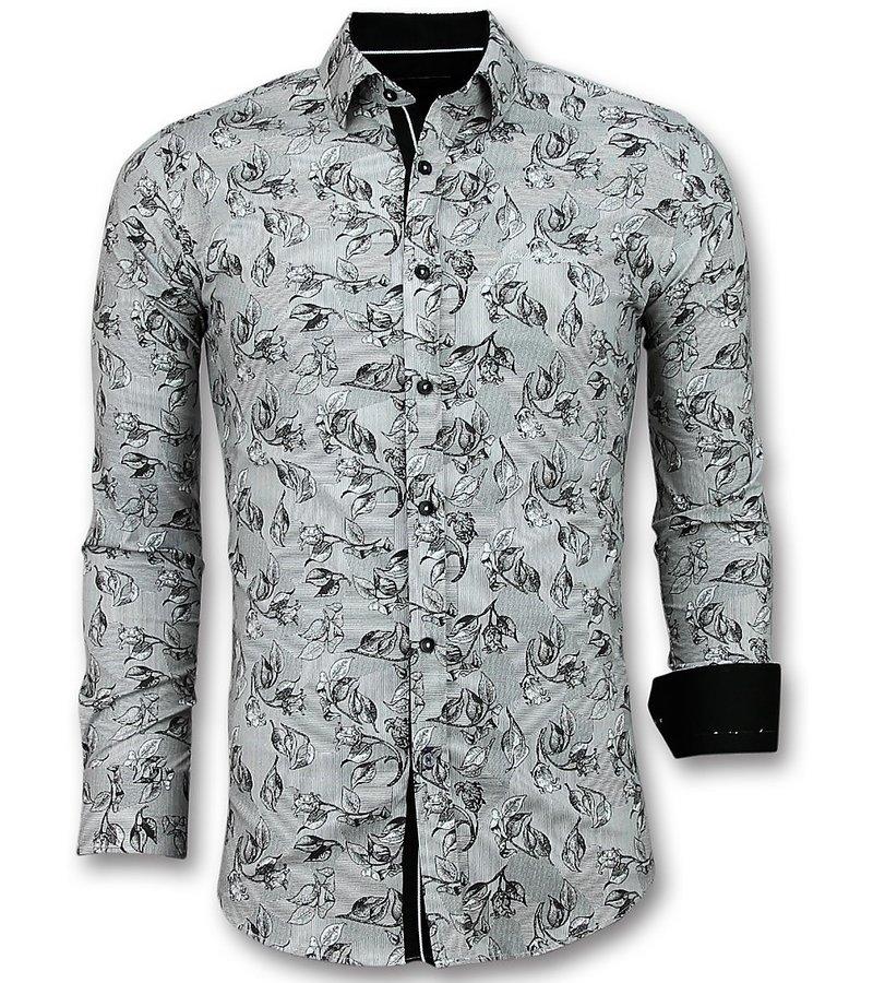 Gentile Bellini Herren Freizeithemden - Bluse Blumenmotiv - 3018 - Weiß