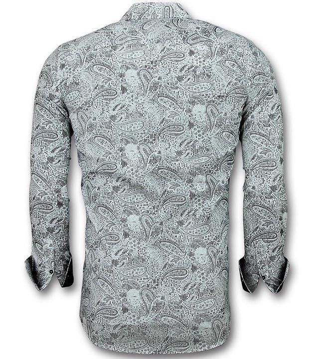 Gentile Bellini Herren Hemden Baumwolle -  Bluse Paisley Print - 3019 - Weiß