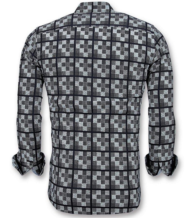 Gentile Bellini Italienische Herrenhemden - Bluse Mit Schachmotiv - 3020 - Blau