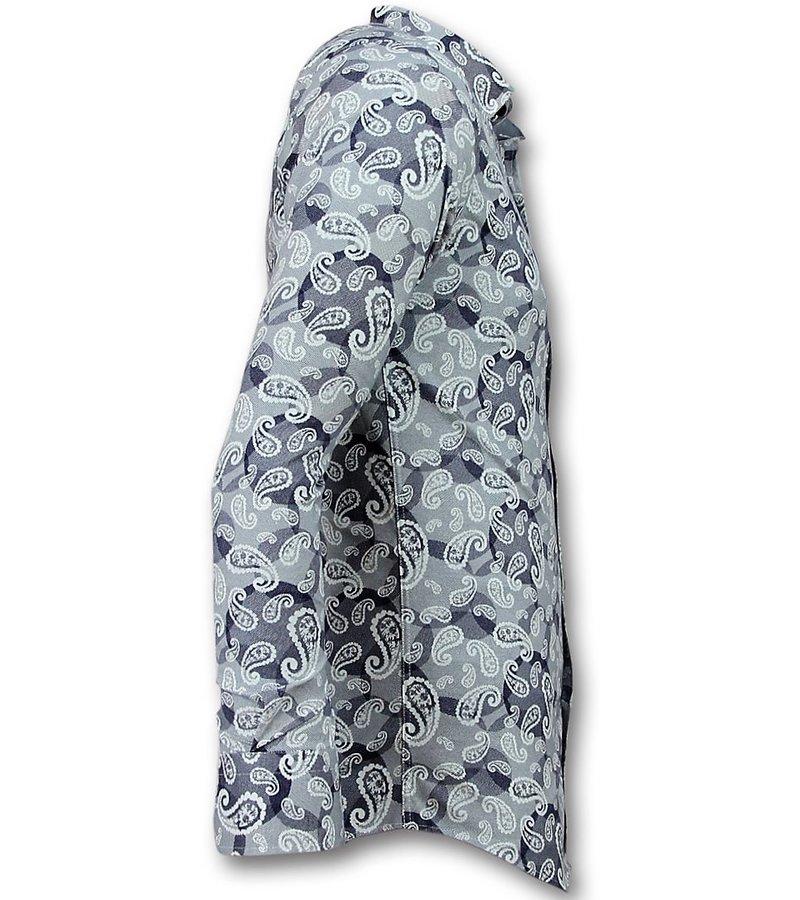Gentile Bellini Herren Hemd Elegant - Luxus Paisley Bluse - 3021 - Blau