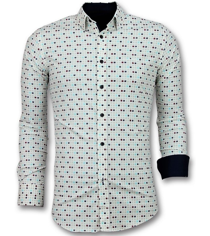 Gentile Bellini Coole Männer Hemden - Tetris Motiv Herren Shirt - 3023 - Beige