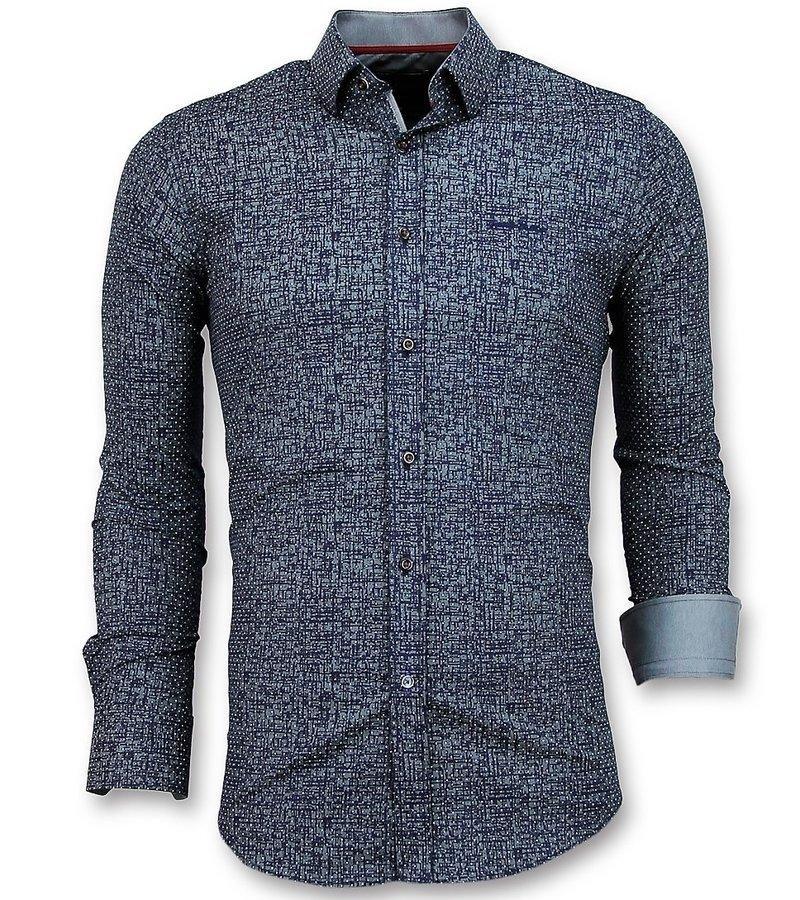 Gentile Bellini Hemden Männer Slim Fit - Grunge Texture Gentlemen - 3024 - Marine