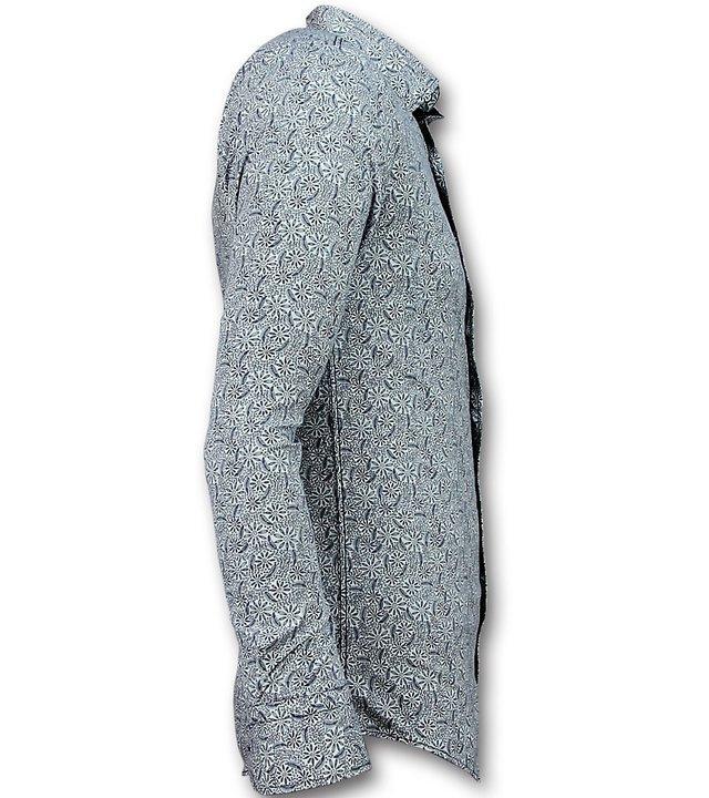 Gentile Bellini Casual Hemden Herren - Slim Fit Bluse Flower Garden - 3028 - Weiß
