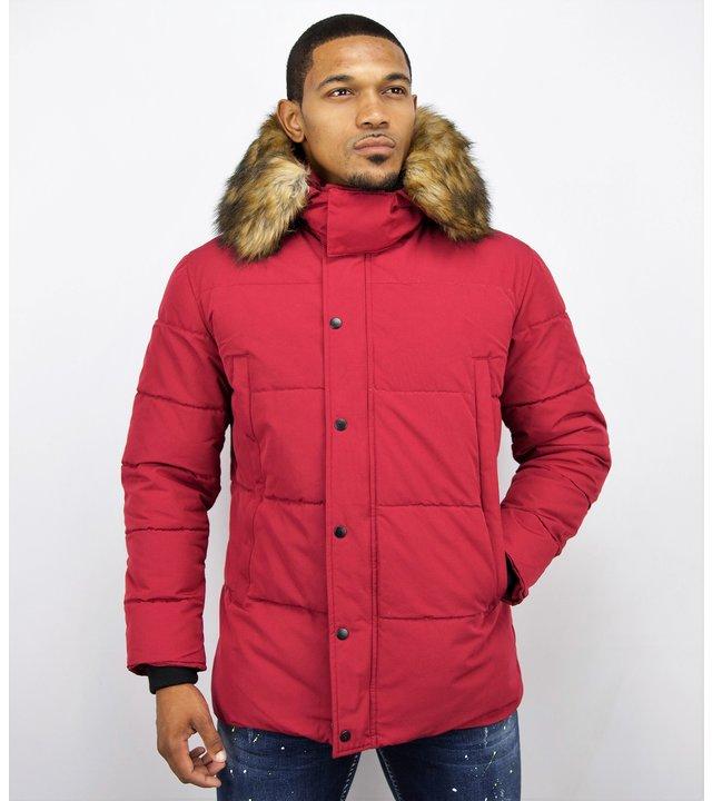Enos Winterjacke Herren - Rote Winterjacke - Jacke mit Fellkragen - Rot