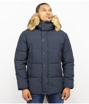 Enos Winterjacke Herren - Kunstfelljacke - Jacke mit Pelzkragen - Blau