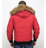Enos Kurze Winterjacke Herren - Pelzkragen - Echtfell Jacke - Canada - Rot
