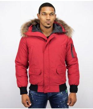 Enos Kurze Winterjacke - Pelzkragen - Echtfell Jacke - Canada - Rot