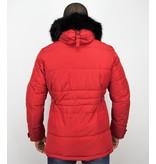 Enos Herren Winterjacke - Winterjacke Männer - Kunstfell Jacke - 4Pocet - Rot