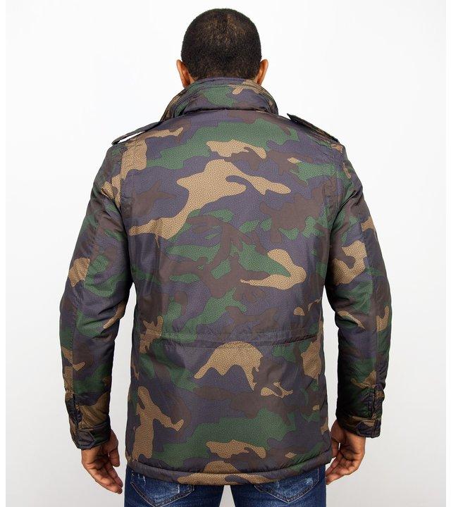 Enos Winterjacken - Herren Winterjacke kurz - Camouflage Jack - Grün