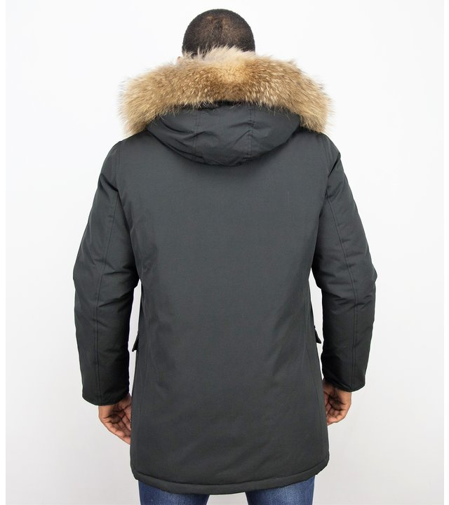 Enos Jacke mit Fellkragen - Winterjacke Herren Lang Parka - Großer Pelzkragen - Schwarz