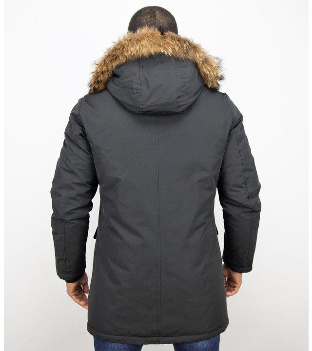 Enos Winterjacke Herren - Lange Jacke mit Fellkragen - Großer Pelzkragen - Parka - Schwarz