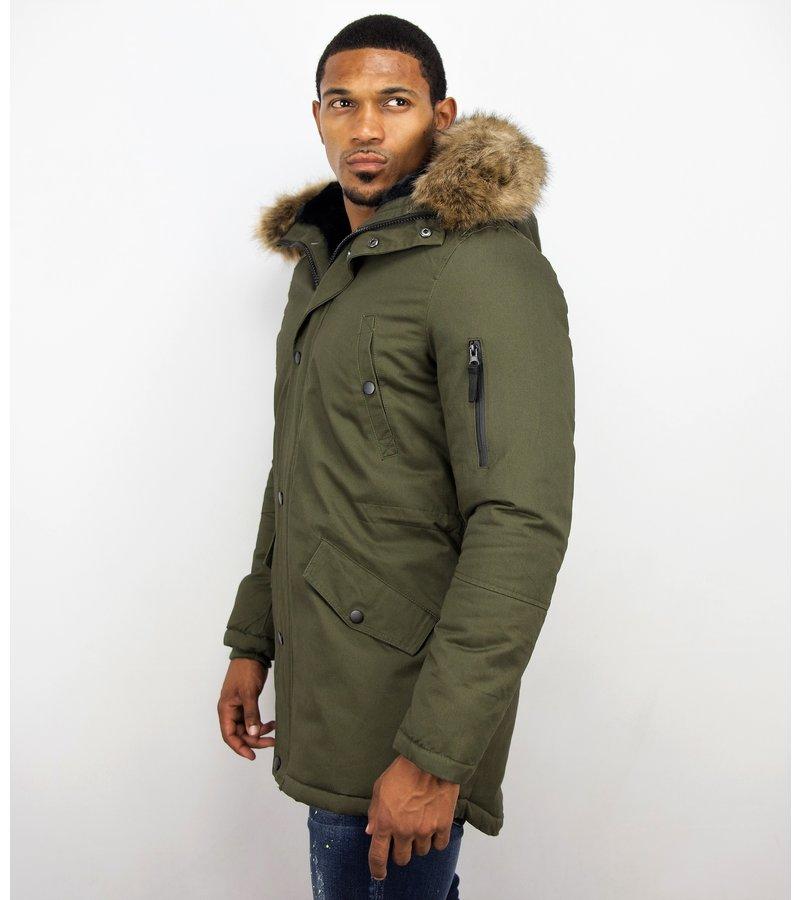 Enos Jacken mit Kunstfellkragen - Winterjacken Herren Lange - Kunstfellkragen - Army - Grün