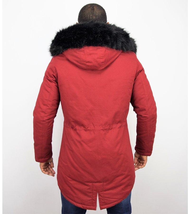 Enos Jacken mit Kunstfellkragen - Winterjacken Herren Lange - Kunstfellkragen - Army - Bordeaux