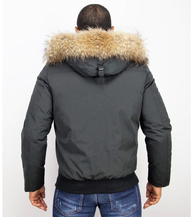 Enos Jacken mit Fellkragen - Winterjacken Herren Kurze - Große Pelzkragen - Schwarz
