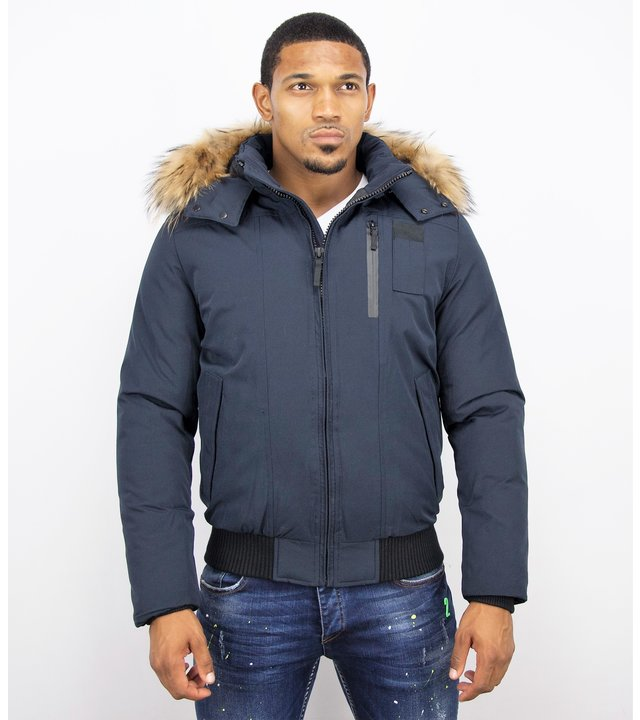 Enos Winterjacke Herren - Kurze Jacke mit Fellkragen - Großer Pelzkragen - Blau
