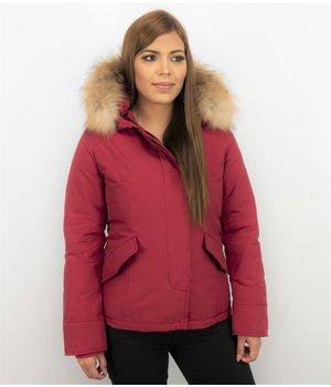 TheBrand Jacke mit Fellkragen - Winterjacke Damen - Rot
