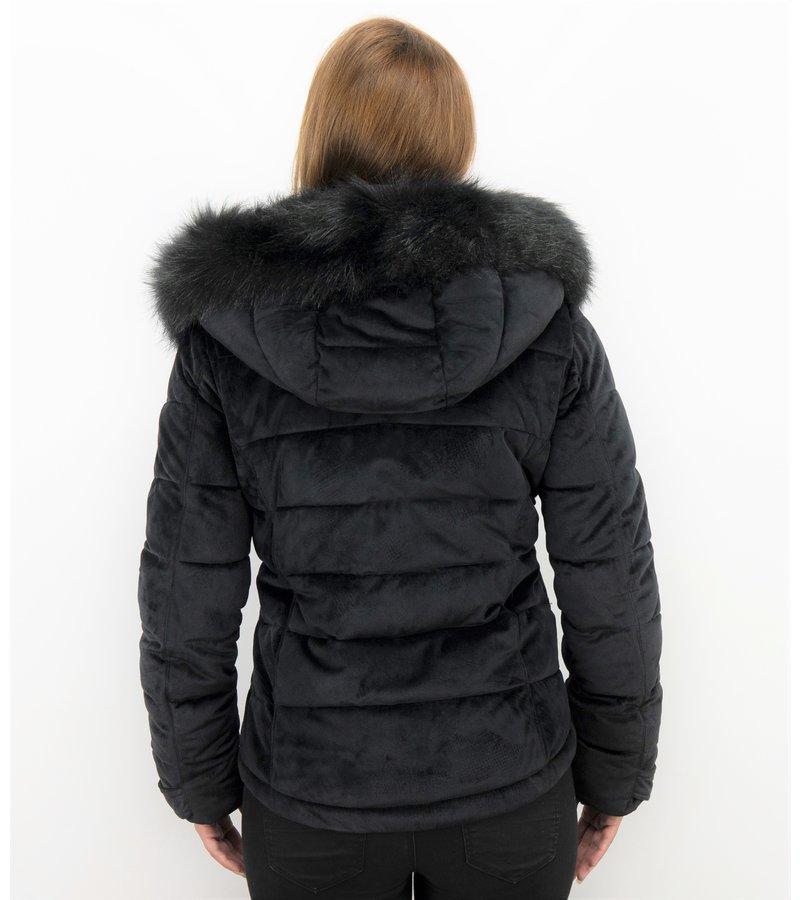 Z-design Winterjacke Damen - Kunstfell Jacke Kurz - Schwarz
