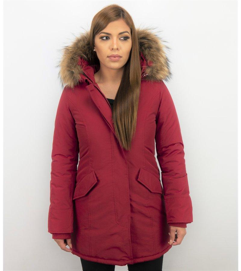 TheBrand Jacken mit Fellkragen - Winterjacken Damen Wooly Lange - Parka Taschen - Rot