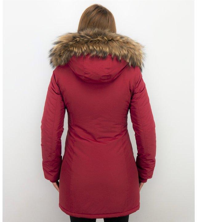 TheBrand Jacke mit Fellkragen - Winterjacke Damen - Parka Taschen - Rot