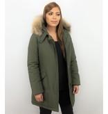 TheBrand Jacken mit Fellkragen - Winterjacken Damen Wooly Lange - Parka Taschen - Khaki
