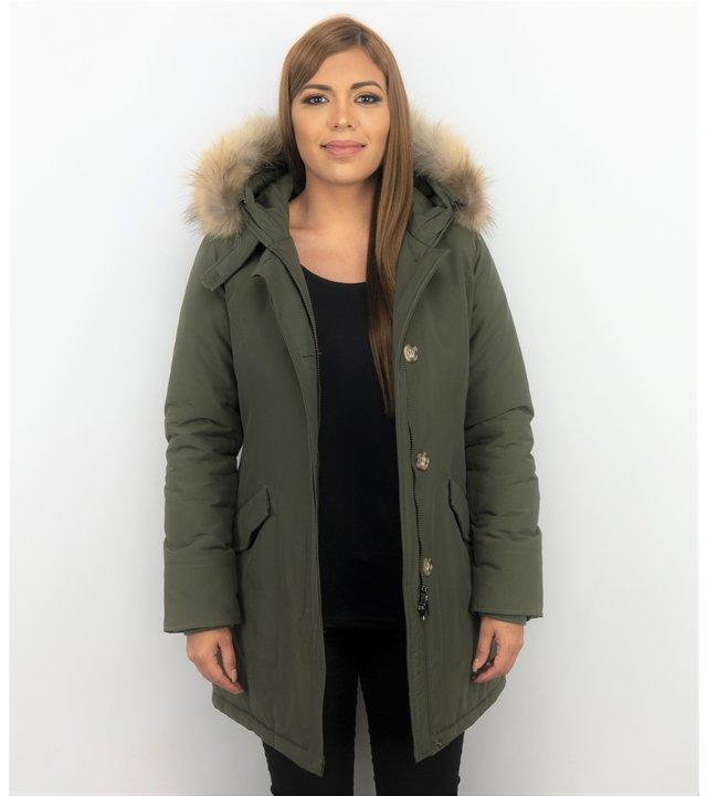 TheBrand Jacke mit Fellkragen - Winterjacke Damen Lang - Parka - Khaki