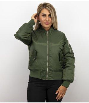 Matogla Bomber Jack Damen - Bomberjacke Damen Basic - Grün