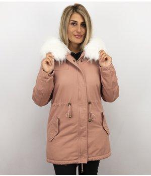 Z-design Winterjacke Damen - Winterjacke mit Fell - Kunstfell Jacke - Army - Rose