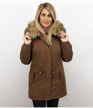 Z-design Winterjacke Damen - Winterjacke mit Fell - Kunstfell Jacke - Army - Braun