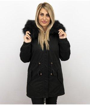 Z-design Winterjacke Damen - Winterjacke mit Fell - Kunstfell Jacke - Army - SchwarzSchwarz
