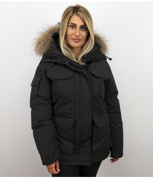 Matogla Jacken mit Fellkragen - Winterjacken Damen Lange - Expedition Parka - Schwarz