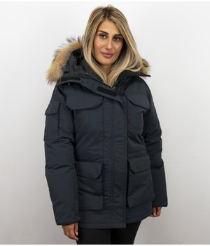 Matogla Jacken mit Fellkragen - Winterjacken Damen Lange - Expedition Parka - Blau