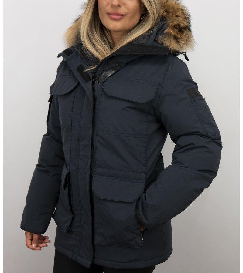 Matogla Jacken mit Fellkragen - Winterjacken Damen Lange - Expedition Parka - Blau