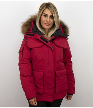 Matogla Jacken mit Fellkragen - Winterjacken Damen Lange - Expedition Parka - Rot