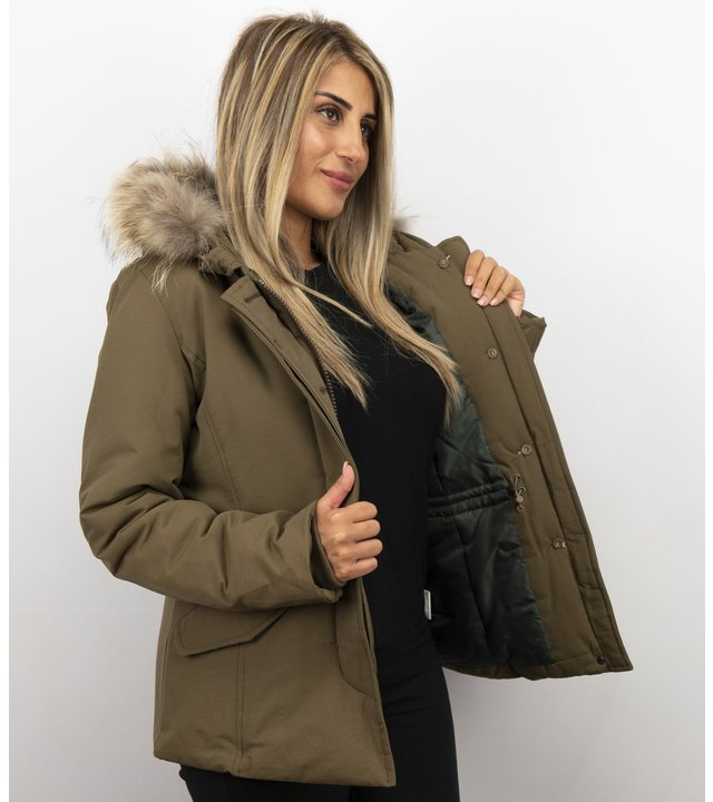 Beluomo Jacken mit Fellkragen - Damen Wintermantel Wooly Kurz - Kleine Pelzkragen - Grün
