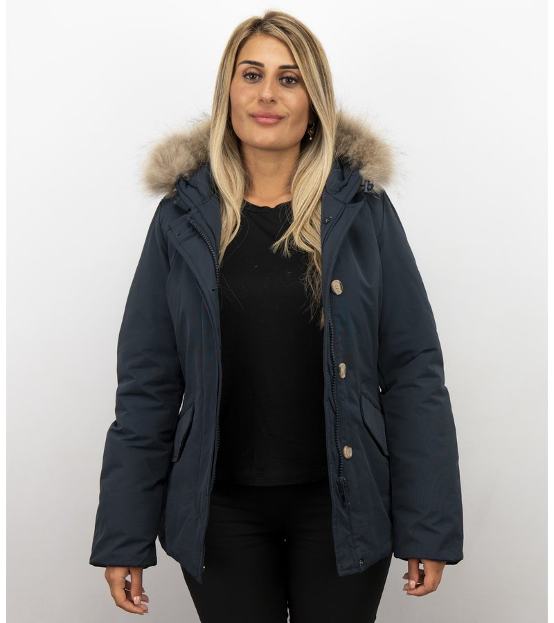 Beluomo Jacken mit Fellkragen - Winterjacken Damen Kurze - Kleine Pelzkragen - Wooly - Blau