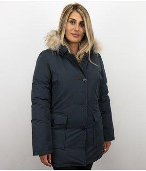 Beluomo Jacken mit Fellkragen - Winterjacken Damen Lange - Parka Wooly - Paspeltasche - Blau